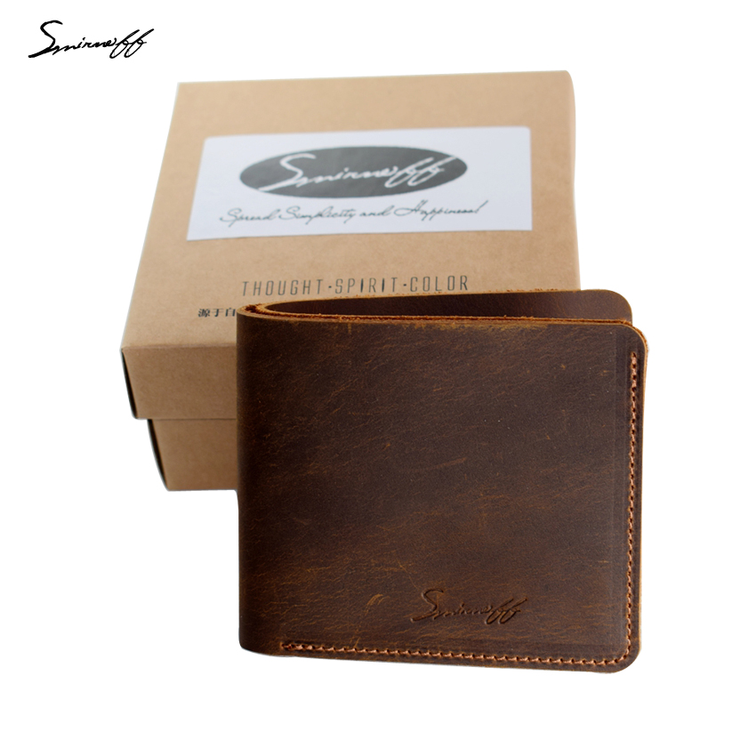 Smirnoff Genuine Leather Men Wallet Super Thin Leather Handmade Custom Name Slim Purse Men Short Small Wallet Card Purse Male handy ladies leather minimalist super thin wallet genuine leather slim card holder mini wallet women small handmade female purse