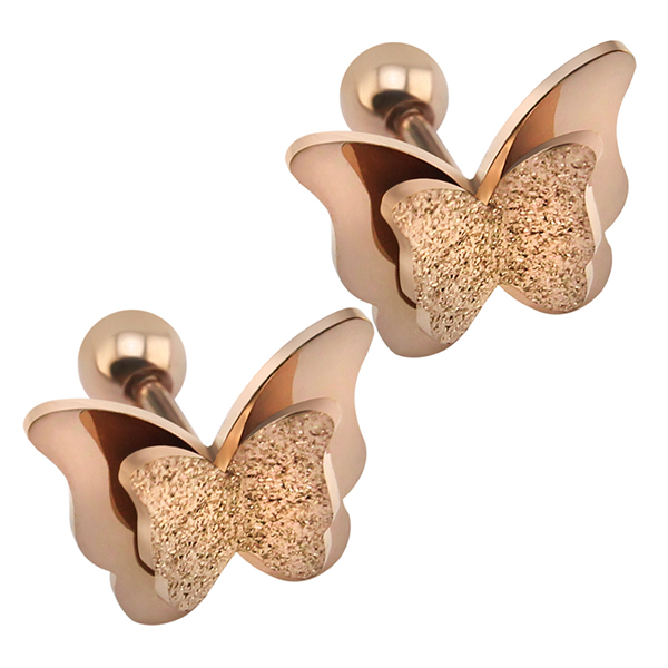 2019 New Butterfly Earrings Rose Gold Color Stainless Steel Stud Earrings for Women Child Frosted Butterfly Cartilage Ear Studs 6