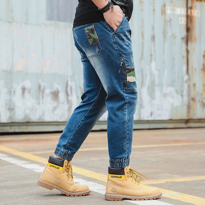 Blue Jeans Men Harem Denim Jeans Trousers High Quality Classic Side Camouflage Bag Zipper Fly Men/'s Jeans Plus Size 30-42 44 46