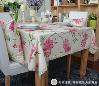 Simple garden flowers style printed cotton table cloth table cover