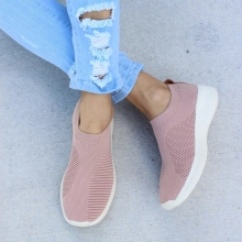 Women Sneakers Female Knitted Vulcanized Shoes Casual Slip On Ladies Flat Shoe Mesh Trainers Walking Footwear Zapatos Mujer  D20