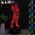 Homem de ferro 3D Night Light RGB Mutável Lâmpada de Humor e LEVOU Luz dc 5 v usb candeeiro de mesa decorativo obter um free controle remoto