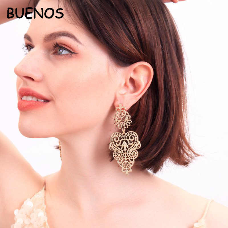 Buenos Fashion Bohemian Hollow Leaf Earrings for Women Fashion Jewelry New Leaf Drop Earrings Indian Jewelry Earring Women 2019