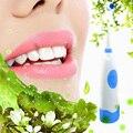 Голубой Вращающейся Противоскользящим покрытием Водонепроницаемые ElectricToothbrush с 2 полноценно волокна Щетки на питание от батареи