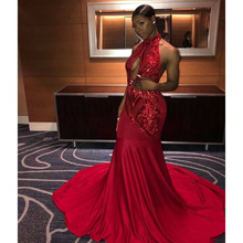 Sexy Red Long Mermaid Prom Dresses Sweep Evening Dress