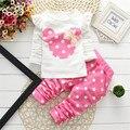 Super Qualidade Dot Minnie Kitty Impresso Criança crianças de Algodão de Manga Longa Conjunto Arco T-Shirt + Pant ternos do bebê bebê Roupas de Menina