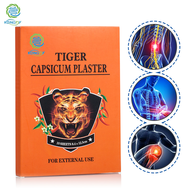 KONGDY 10 Pieces/Box Tiger Capsicum Plaster Waterproof Back Pain Relief Patch Health Care for Pain Relief Stiff Neck/Shoulder nicorette coated gum 2mg 100 pieces fresh mint personal healthcare health care