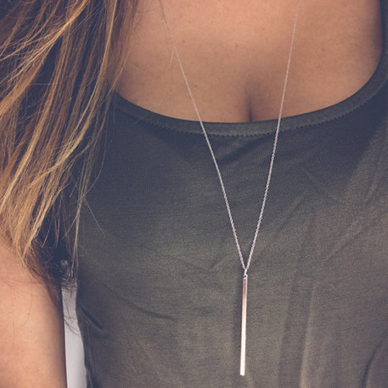 Simple Sliver Plated Chain Necklace Long Charm Necklaces&Pendants For women gift XL016