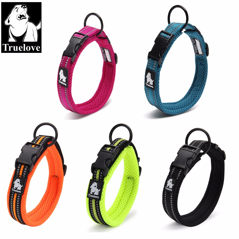 Truelove Adjustable Nylon Dog Collars Mesh Padded Reflective Collar For Dog Training Outdoor Comfortable Dog Necklace For Pet water resistant nylon fleece jacket for pet dog deep pink size xs