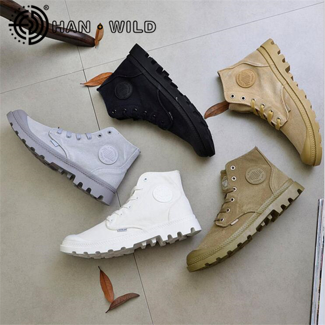 High Top Quality Canvas Men Boots Lace Up Male Canvas Shoes Ankle Botas Cowboy Motorcycle Boots Men Military Desert Boots Londoners Vanity