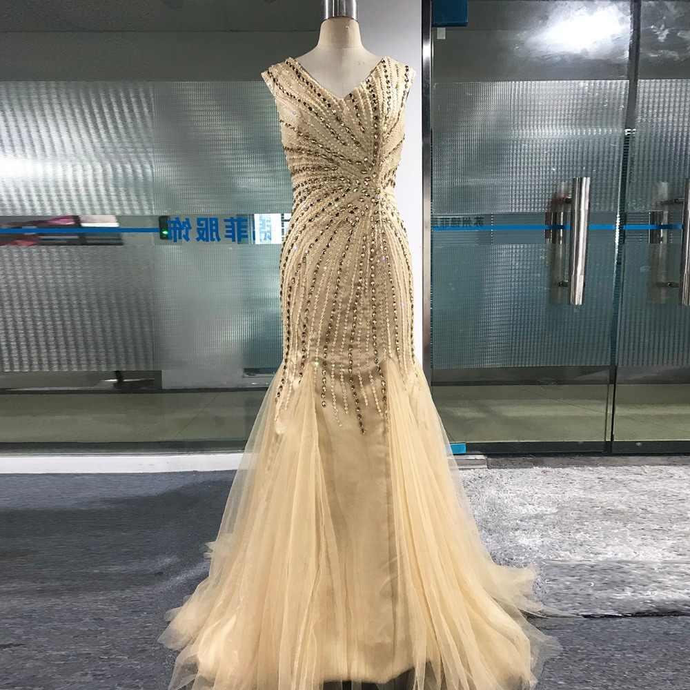 cf760256148 ... Vestido Largo De Noche Pink Crystals Mermaid Prom Dresses 2018 Formal  Dresses Prom Graduation Dresses V ...