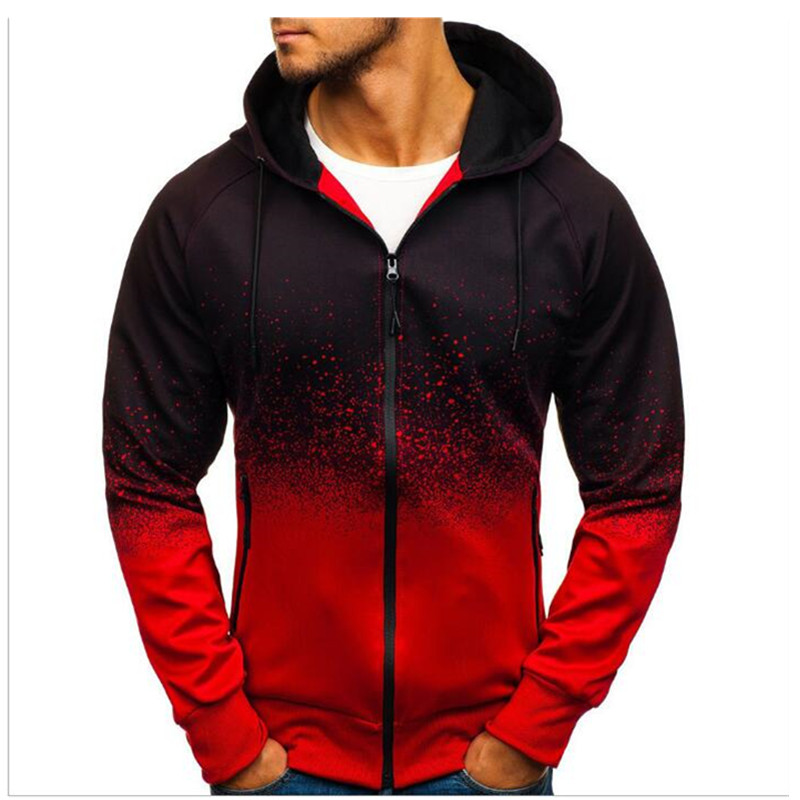Fall/winter Hot Style 3D Digital Print Hoodie Men's Casual Gradient Zip-up Jacket Hoodie Jogging Hip Hop Hoodie