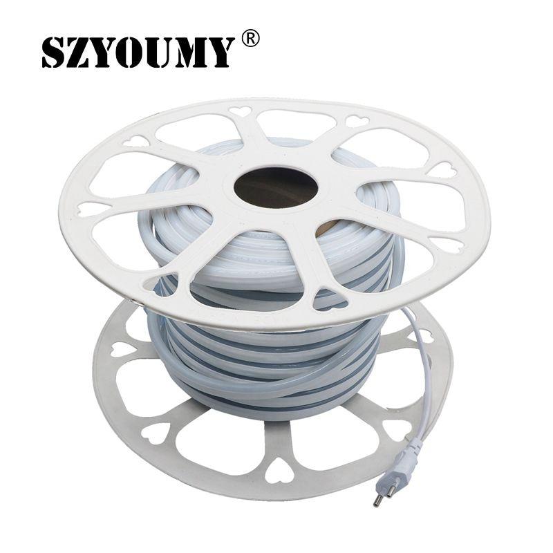 220 В 12 В неоновый светодиодный полосы 2835 120 светодиодный S/M IP65 Водонепроницаемый открытый гибкий светодиодный неоновые трубки ленты света с ЕС Мощность адаптер