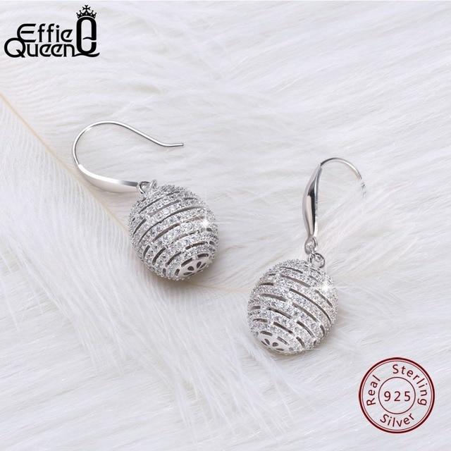 Effie Queen 100 Real S925 Silver Ball Dangle Earrings For Women 925 Sterling Drop
