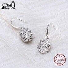 Effie Queen 100% Real S925 Silver Ball Dangle Earrings for Women 925 Sterling Silver Drop Earring Luxury Statement Jewelry BE59