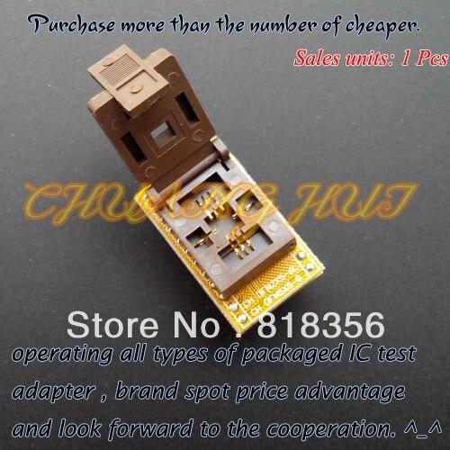 IC TEST DFN8 to DIP8 programmer adapter WSON8 MLF8 QFN8 Socket(Flip test seat) Pitch=1.27mm Size=5x5mm