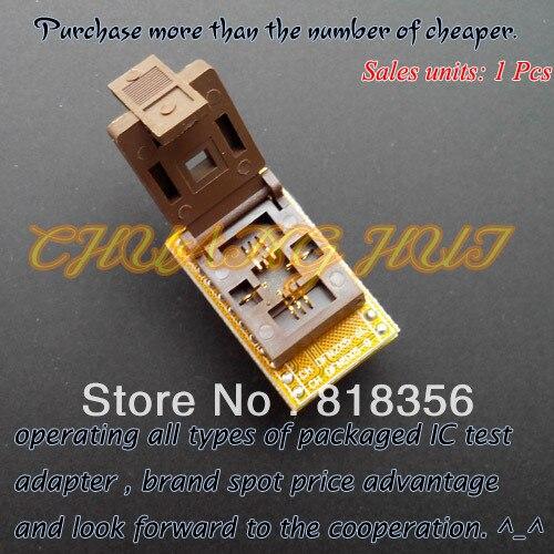 QFN8 WSON8 MLF8 DFN8 в DIP8 программист адаптер IC TEST Socket (Флип тест сидений) Шаг = 1.27 мм размер = 5 х 5 мм