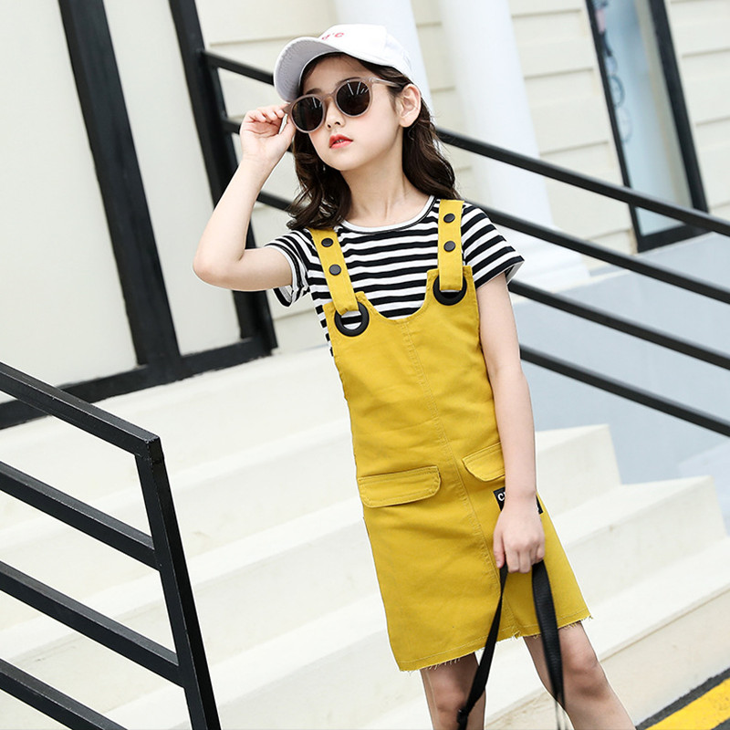 Girls Suspenders Dress 2 Pcs Set 2019 Summer Fashion Kids Stripe T-Shirts And Dresses Set For Girl 5 7 9 11 13 Year Clj144 37