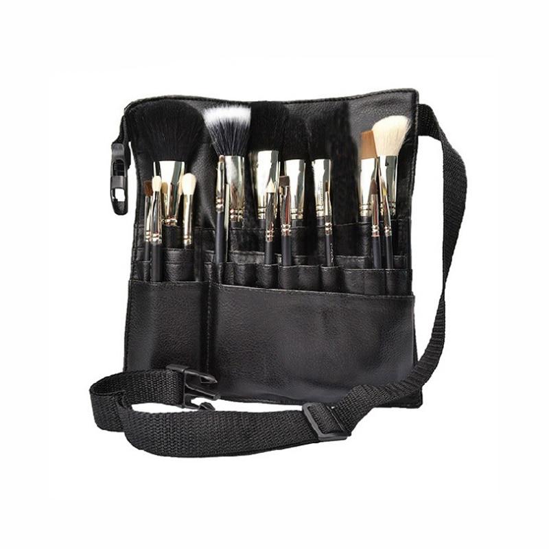 Us 8 81 32 Off Black Two Arrays Makeup Brush Holder Professional Pvc A Bag Artist Belt Strap Protable Make Up Cosmetic In Eye