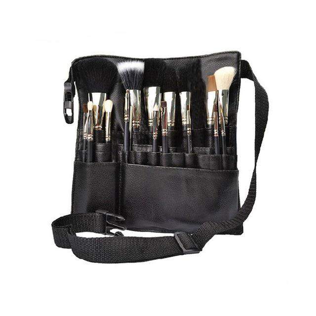 Black Two Arrays Makeup Brush Holder Professional Pvc A Bag Artist Belt Strap Protable Make Up