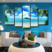 Unframed 5 Panel Blue Sky And Beach Seascape Modern Print Art Painting Canvas Home Wall Deocr For Living Room Decoration Artwork