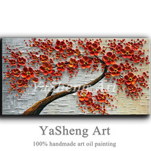 handpainted Oil Painting on Canvas Textur Palette knife Red 3D Flowers Painting Modern House living room Decor large Art Picture