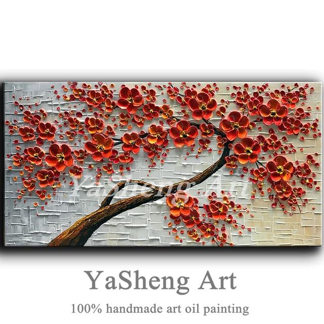 Ręcznie Malowane Obraz Olejny Na Płótnie Szpachla Textur Red 3d