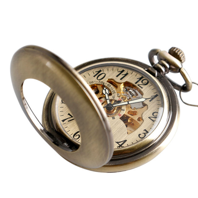 Thanksgiving Gift Pocket Watch Automatic Mechanical Trendy Steampunk Hollow Vint