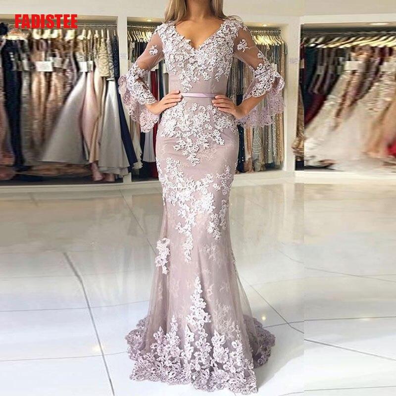 Nouveauté robe de soirée élégante robe formelle de noiva grande taille robe de soirée 2019 dentelle vestido noiva sereia dentelle manches bouffantes