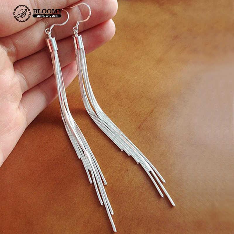 Vintage pendientes de color plateado Extra largos pendientes de borla de línea de seis orejas Pendientes de alta calidad joyería de moda para mujer el mejor regalo