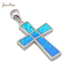 53b603410128 Garilina 2018 joyería de moda de la joyería de la plata esterlina 925  vintage cruz de plata ópalo de Fuego Azul colgante para la.