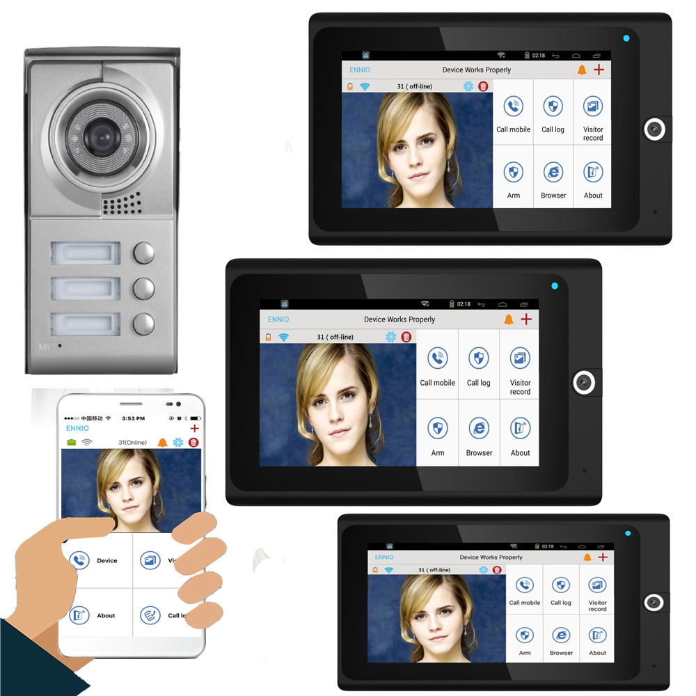 SmartYIBA Visual Video Doorphone Doorbell Intercom System For 3 Apartments 7inch Touch LCD Wired Wifi Unlock Support IOS/Android