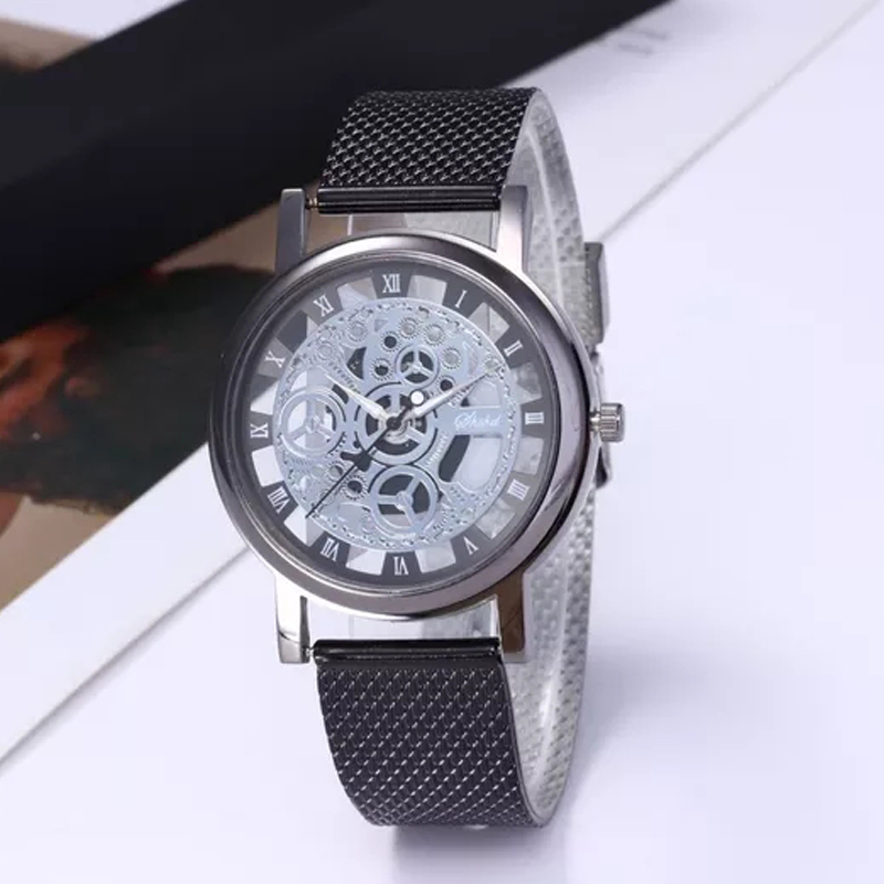 Fashion Ladies Watches Elegant Hollow Non mechanical Watch Women Wristwatch PU Leather Strap Quartz men Clock Relogio Feminino in Women 39 s Watches from Watches
