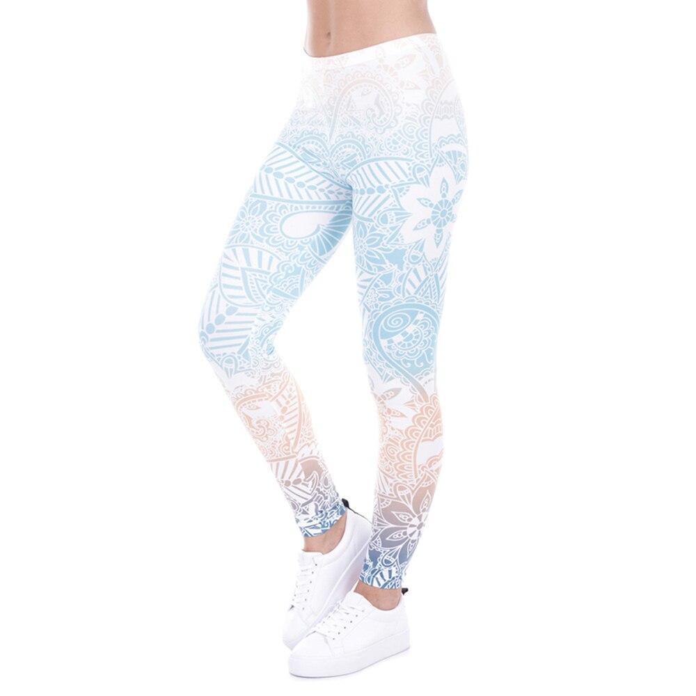 HEZHUKEJI Brand Hot Sales   Leggings   Mandala Mint Print Fitness   legging   High Elasticity Leggins Legins Trouser Pants for women