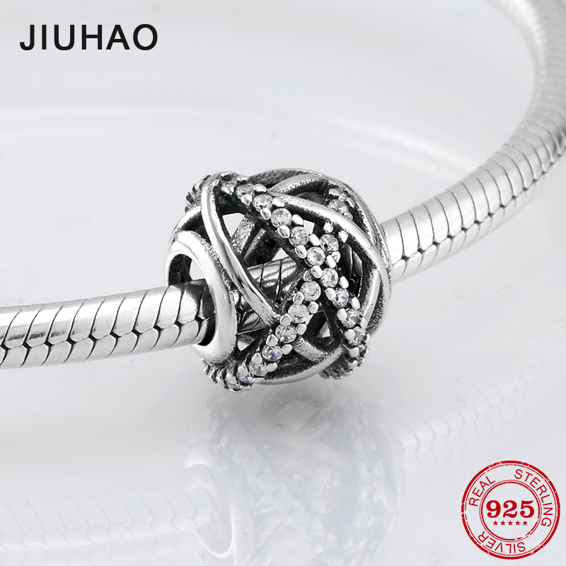 2018 Hollow 925 Sterling Silver Crossing lines CZ beads Fit Original Pandora Charm Bracelet Jewelry making