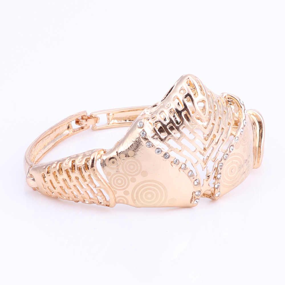 Mode Afrikanische Perlen Schmuck-Set für Frauen Braut Hochzeit Zubehör Halskette Ohrringe Ring Armband Liebe Geschenk