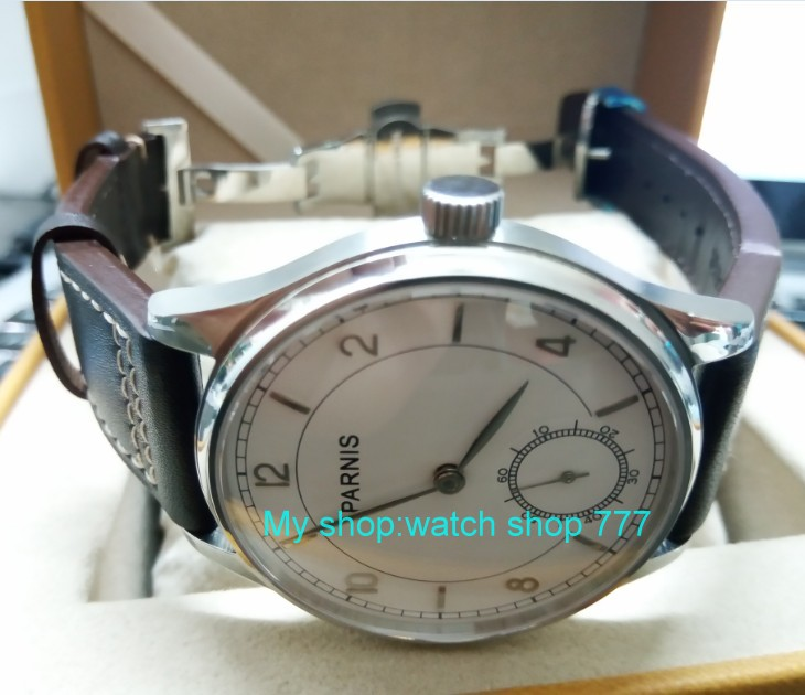 44mm PARNIS Pilot Asian ST3621/6498 Mechanical Hand Wind movement Mechanical watches white dial men's watches butterfly buckle 44mm parnis white dial asian 6498 3621 mechanical hand wind movement men s watch mechanical watches rnm9