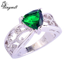 Fashion NEW Party's Jewelry Triangle Cut Emerald Quartz 925 Silver Ring Size 6 7 8 9 10 11 12