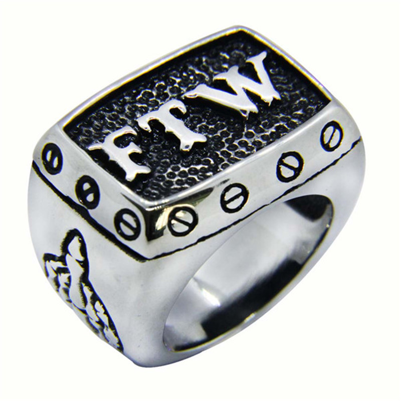 Mens 316L Stainless Steel FTW Cool Biker Ring-in Rings ... |Cool Ftw