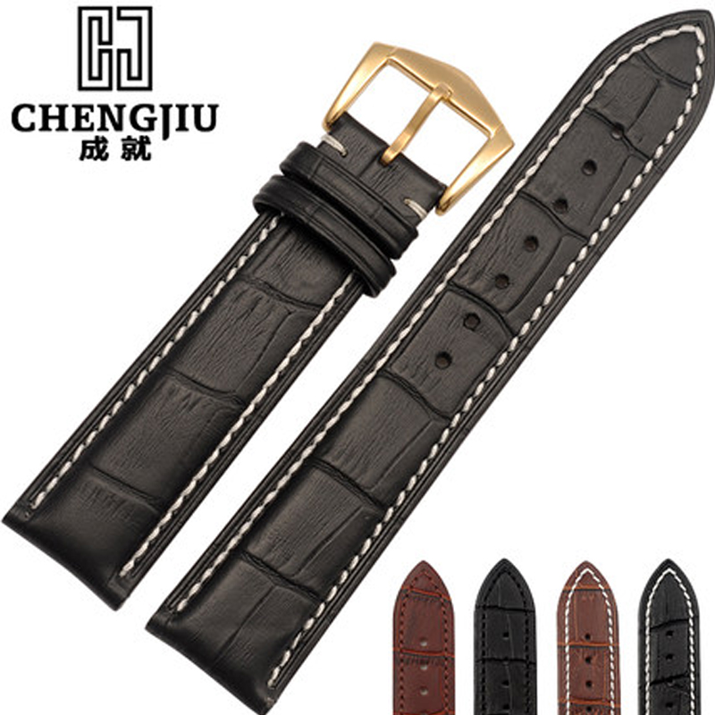 Genuine Leather Watchband For Longines Omega Mens Calfskin Watches Straps Watch Band For Male Bracelet Belt Montre Pulseras