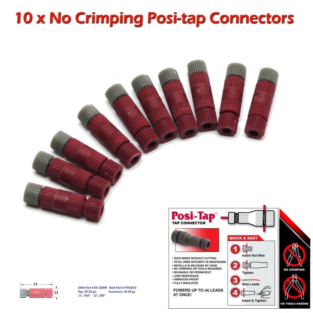 imágenes para -Posición de Conectores de derivación, 20-22 Wire Gauge, Paquete a granel de 10, sin Que Prensa O Herramientas Necesarias, No Corte