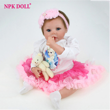 55 cm Silicone Vinly Bebe Doll Blue Eyes Alive Reborn Dolls Girl Babies Child Birthday Gift Realistic Born