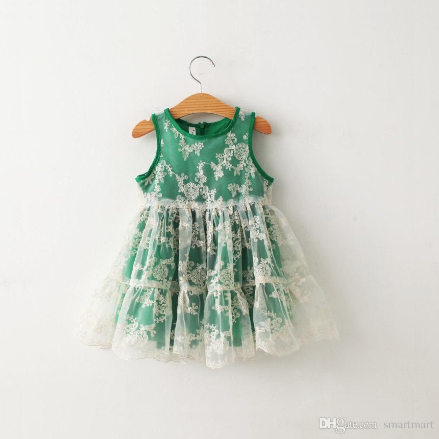 Kids Girls Tutu Fairy Organza Dress Lace Crochet Dress Ruffles Green Color Korea Princess Fashion Sweet Baby Party Dress