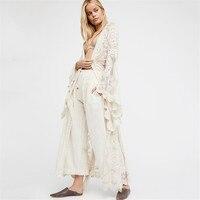 Plus Size Blusas 2017 Spring Autumn Women Outwear Lace Long Flare Sleeve Beach Kimono Cardigan Casual