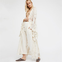 Plus Size Blusas 2017 Spring Autumn Women Outwear Lace Long Flare Sleeve Beach Kimono Cardigan Casual