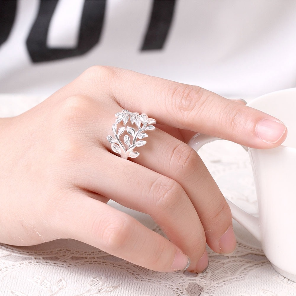 Exquisite 925 Silver Rings Creative Hollow Leaves Modeling Party ...