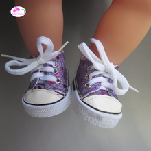 Doll accessories fits 43 cm Zapf dolls baby born Fashion purple sequins sports shoes