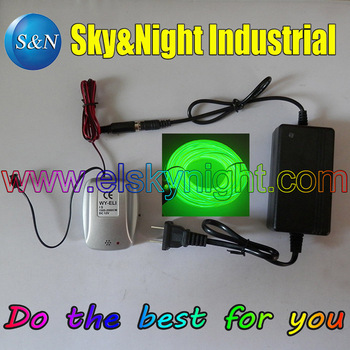 Kelly green(18M)-Hight brightness 4.0MM( Semi-circle) El Wire/Flexible Neon Light  with Sound Inverter/Controller+220v adapter