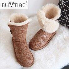 Blivtiae/Роскошные австралийские зимние ботинки из овчины Натуральная шерсть овец ботинки на меху до середины икры, Женская обувь на плоской подошве