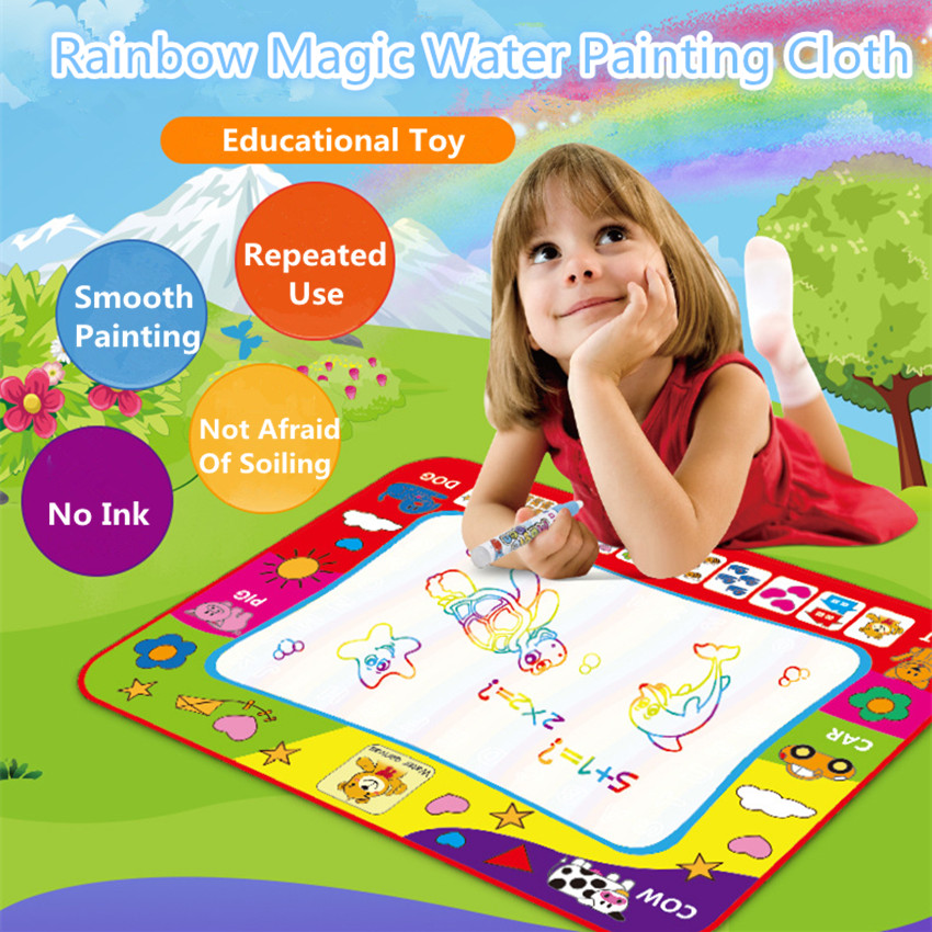 Montessori Kids Magic Water Drawing Cloth With Pen Animal Coloring Water Painting Mat Graffiti Doodle Pen Education Toy